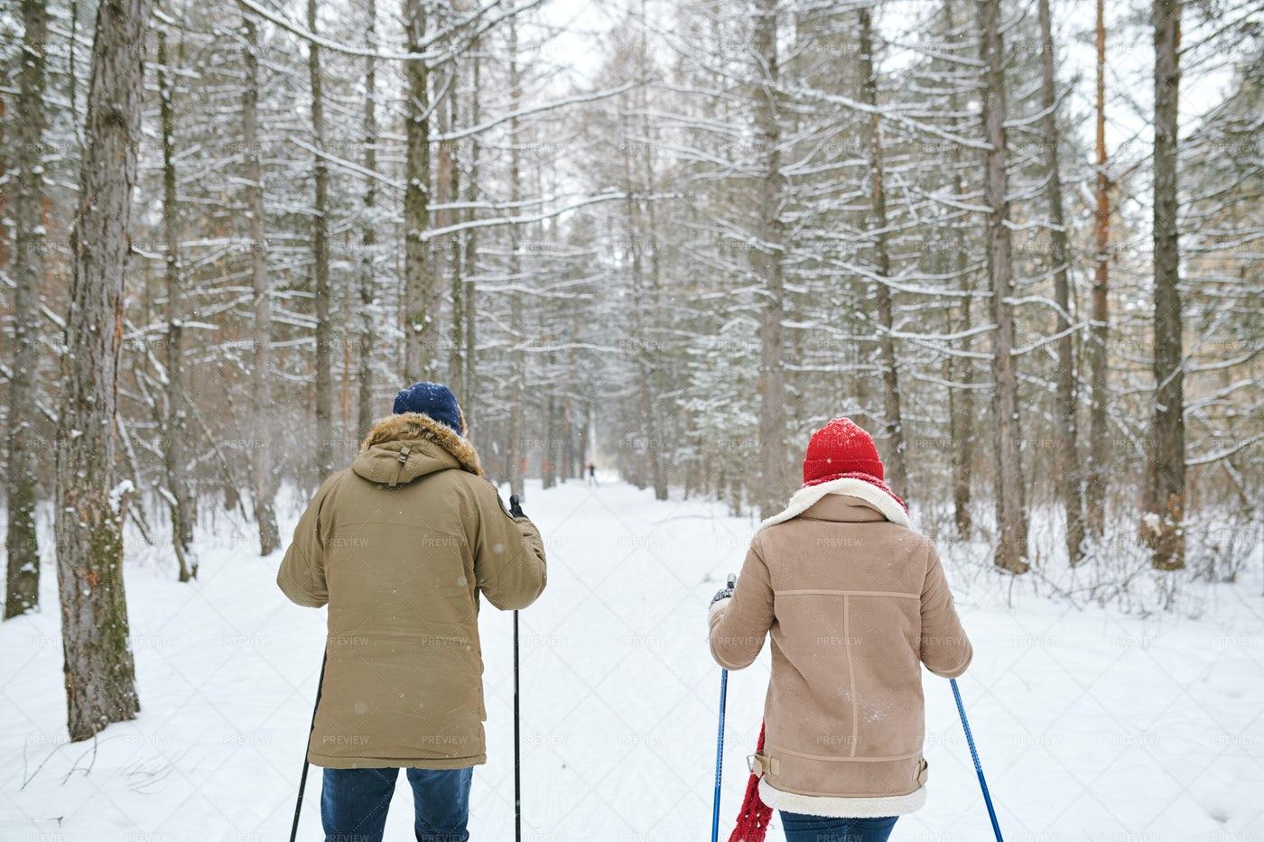 Couple Skiing Back View: Stock Photos