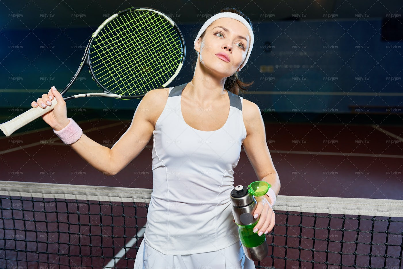 Professional Tennis Player In Court: Stock Photos