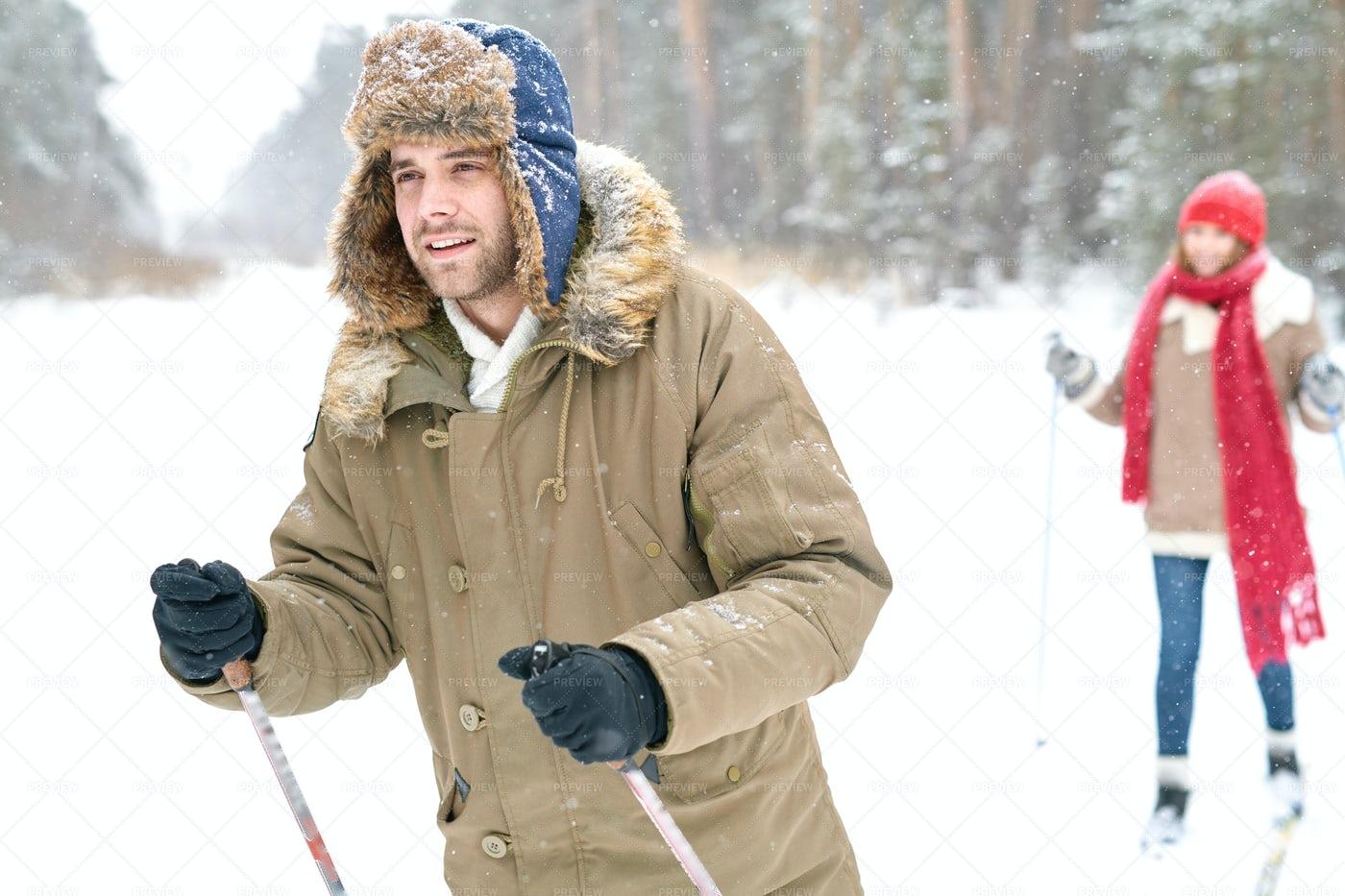 Handsome Man Skiing In Winter...: Stock Photos