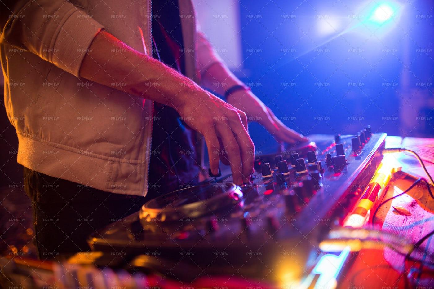 Unrecognizable DJ At Club Party...: Stock Photos