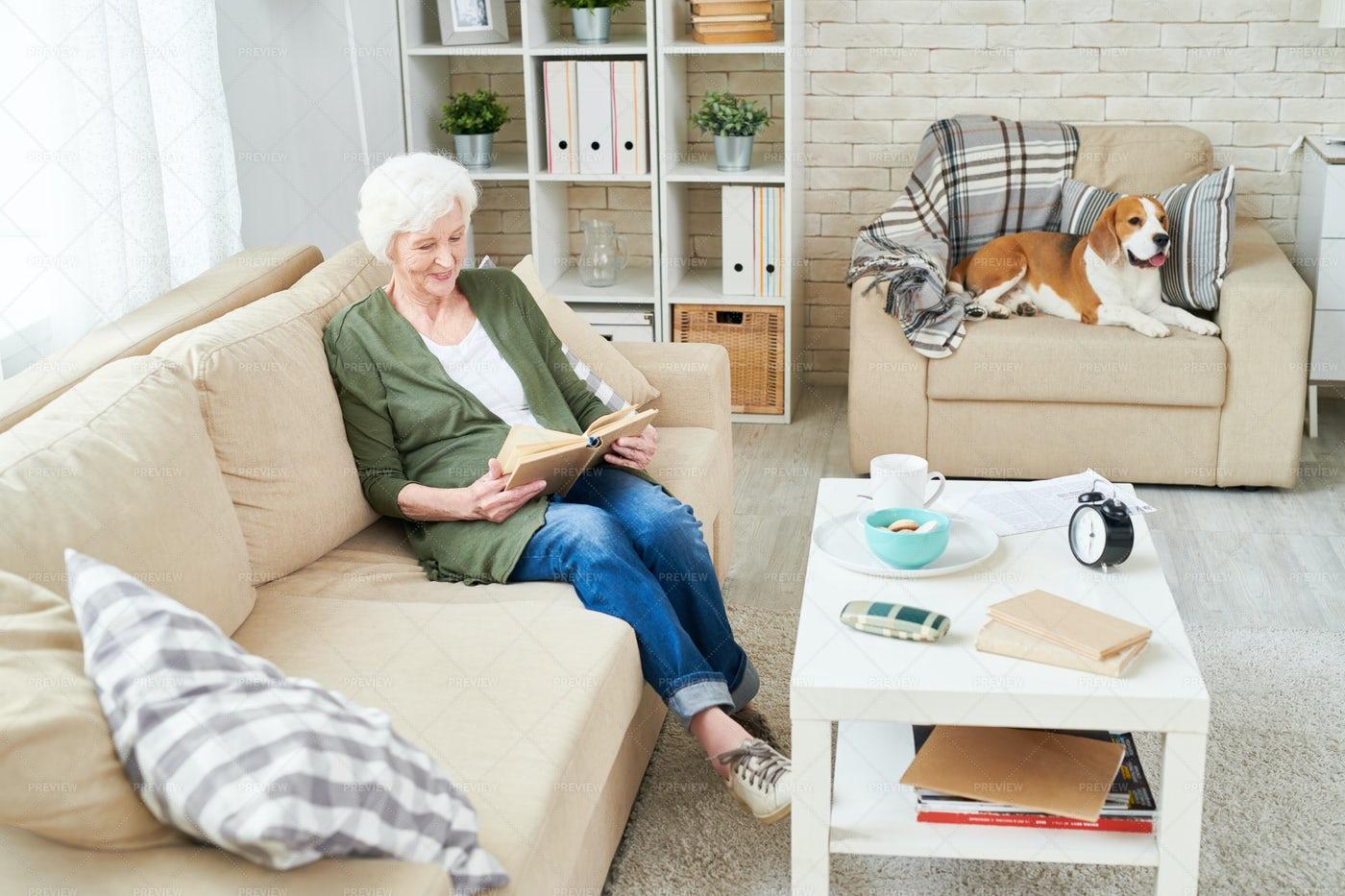 Happy Grandmother Enjoying Reading: Stock Photos