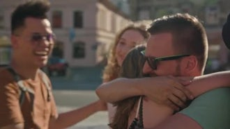 People Meeting In The Street: Stock Video