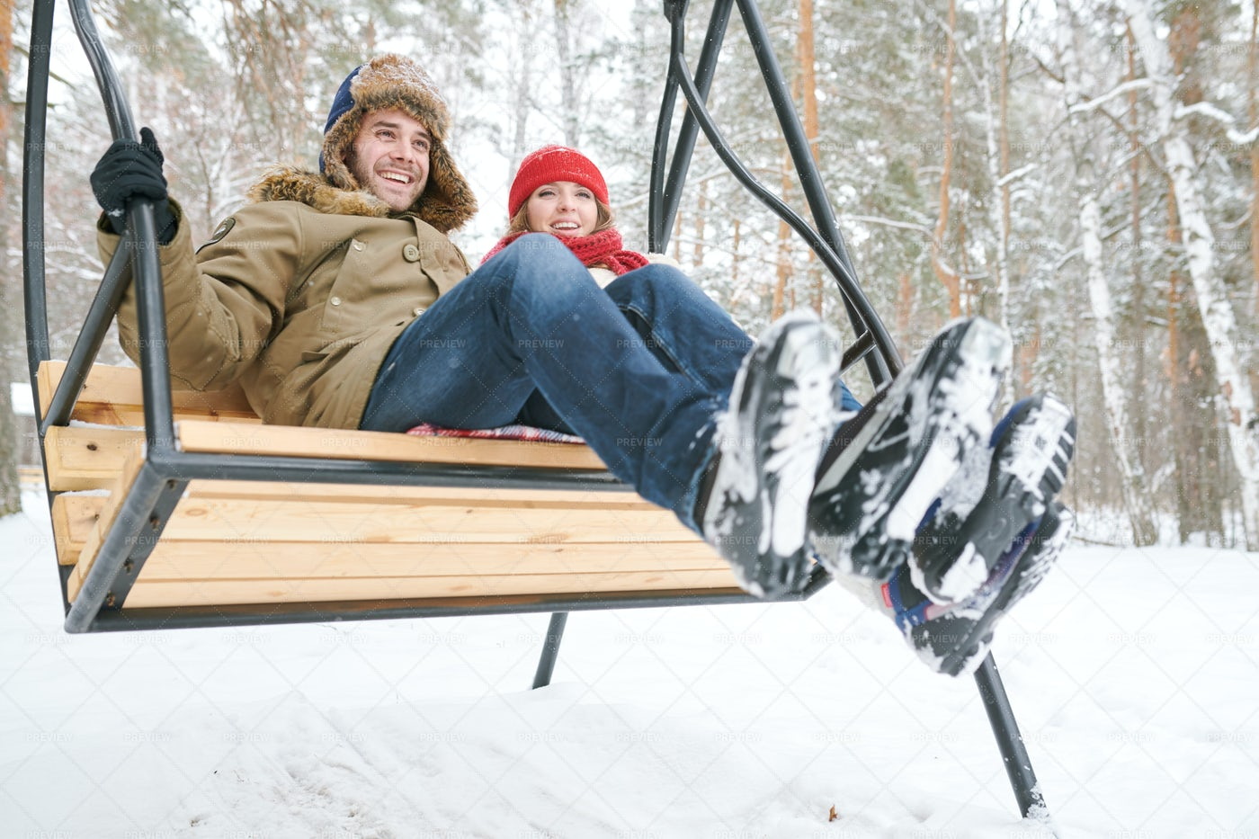 Couple On Wooden Swing: Stock Photos