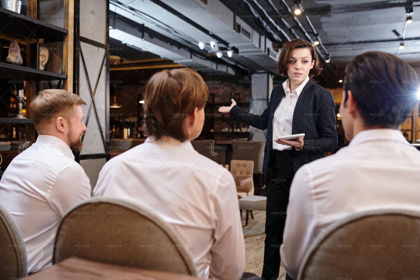 Restaurant Manager Explaining Tasks...: Stock Photos