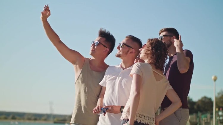 Young People Taking A Selfie: Stock Video
