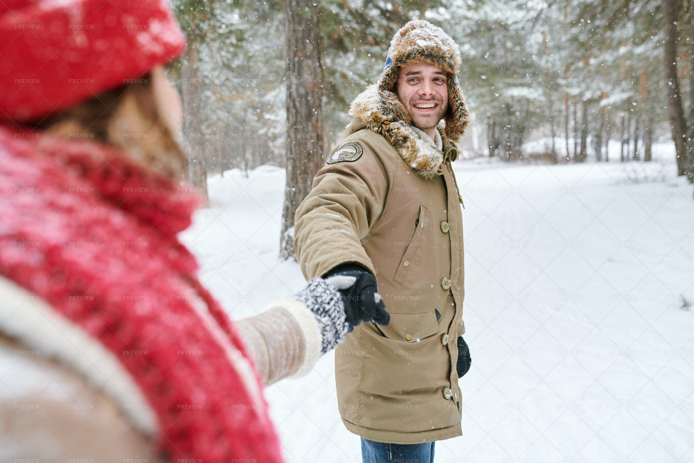 Handsome Man Leading Girlfriend In...: Stock Photos