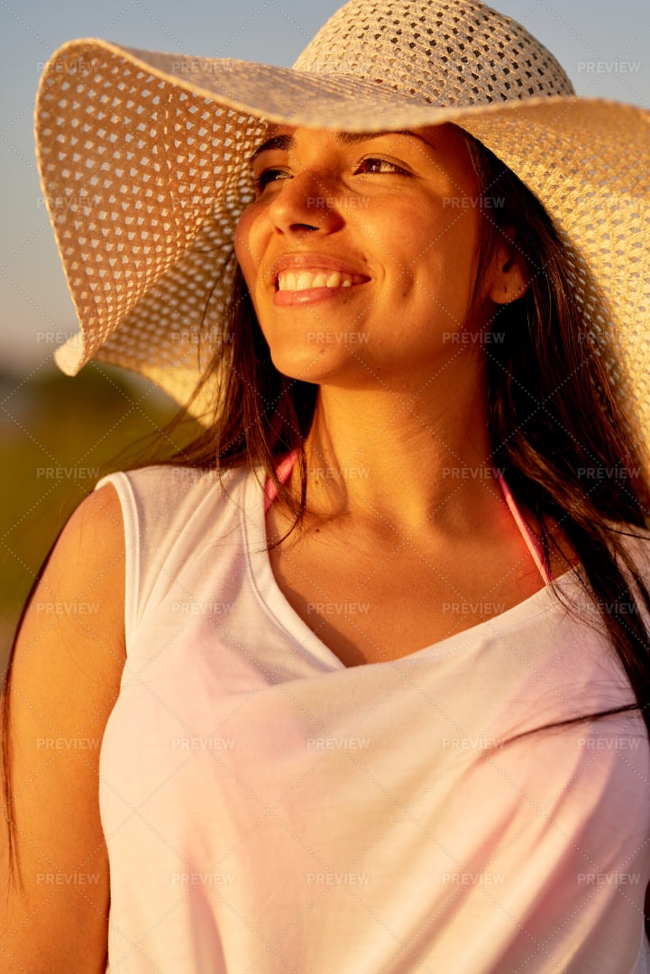 Cheerful Dreamy Woman Contemplating...: Stock Photos