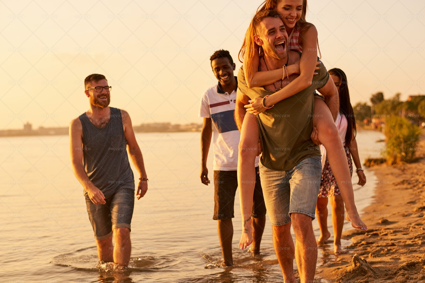 Cheerful Friends Walking Together...: Stock Photos