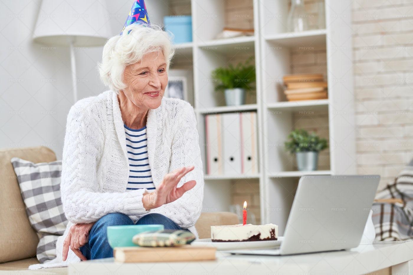 Happy Senior Birthday Woman Talking...: Stock Photos