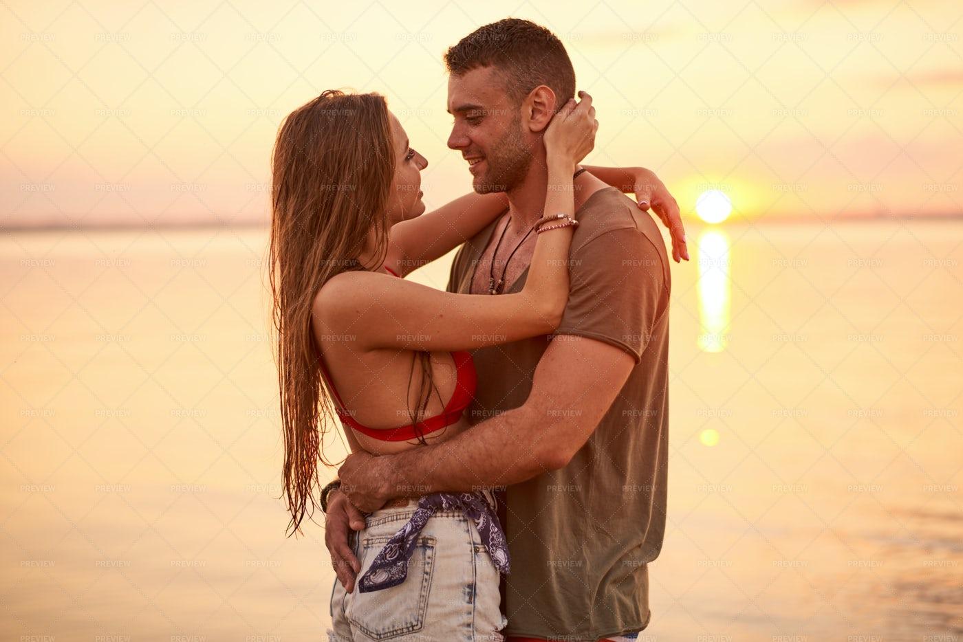 Smiling Beautiful Couple Falling In...: Stock Photos
