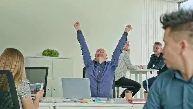 Businessman Celebrating Victory: Stock Video