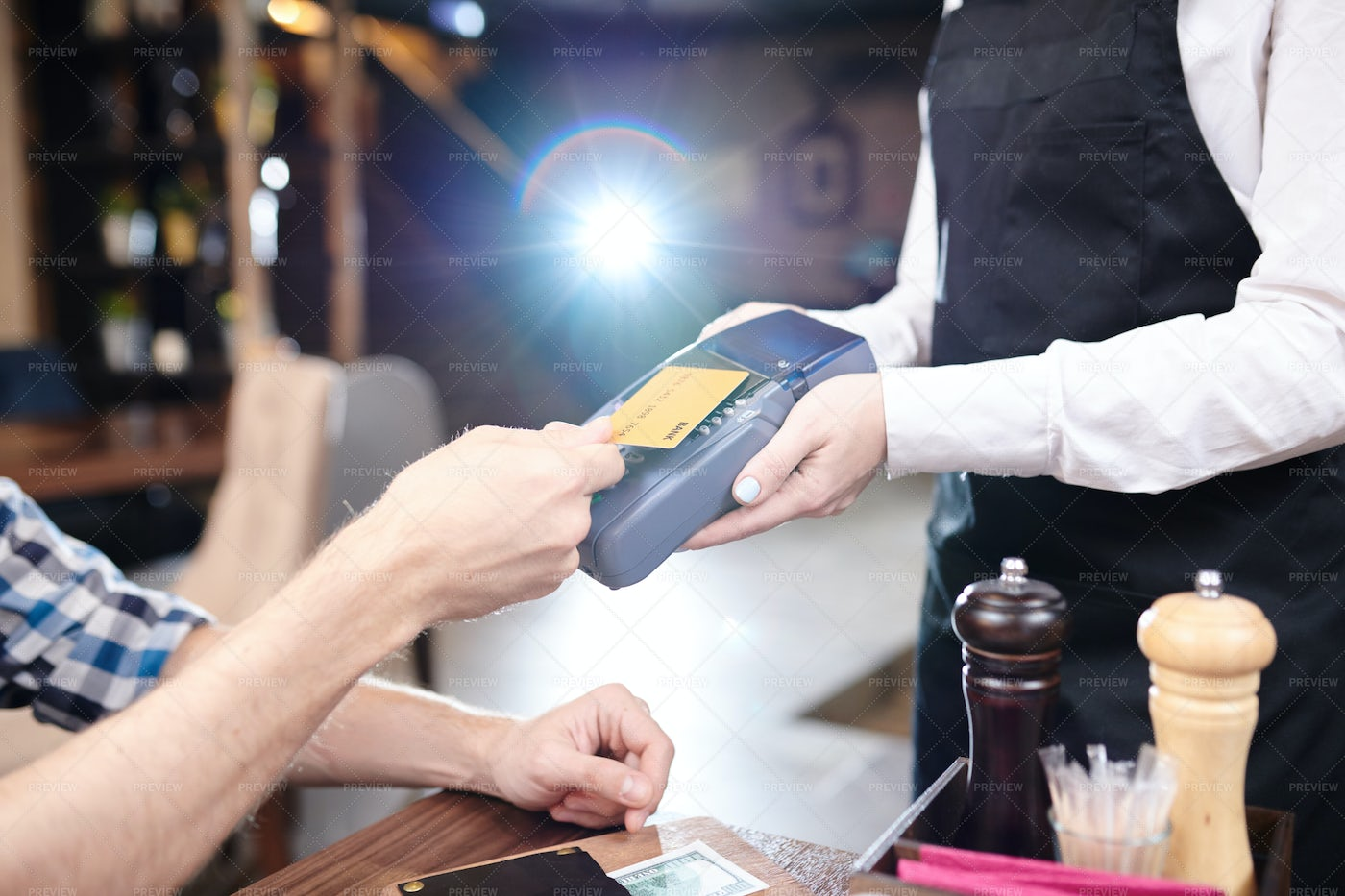 Using Cashless Payment In Cafe: Stock Photos