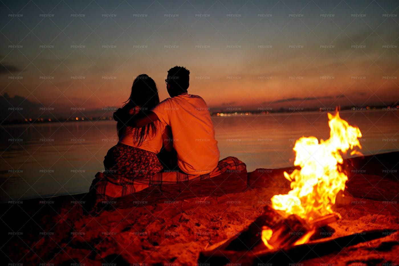 Romantic Date On Beach At Night: Stock Photos