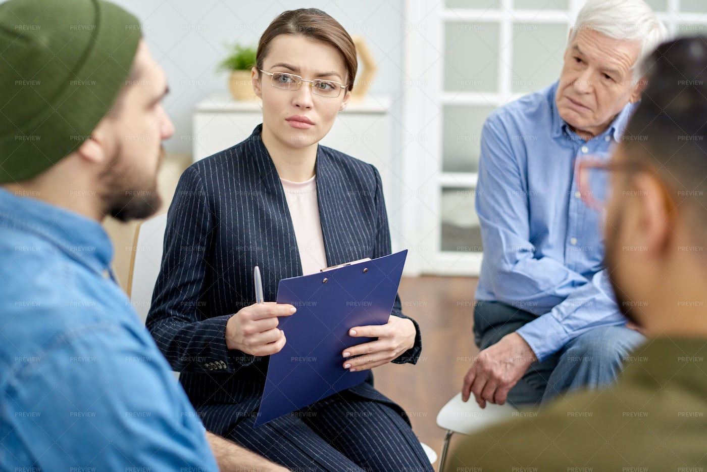 Group Therapy Session At Cozy...: Stock Photos