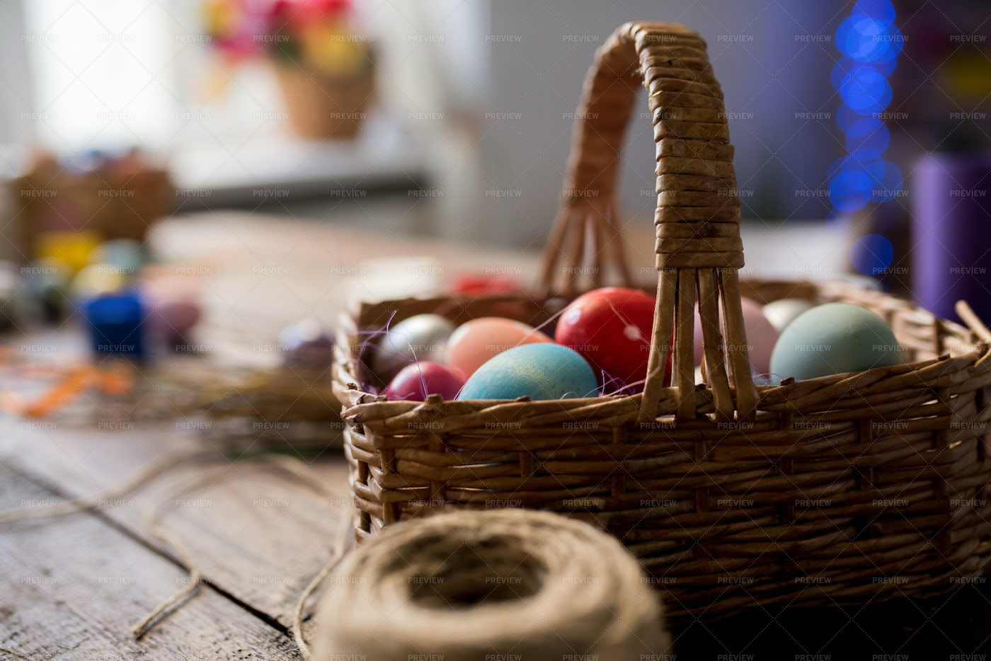 Basket Of Easter Eggs: Stock Photos