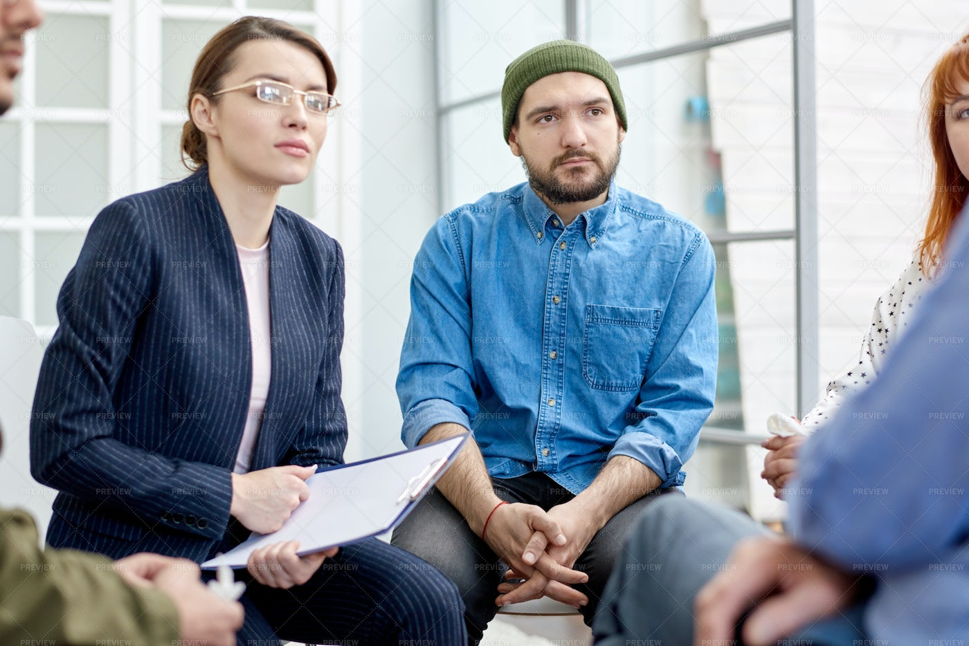 Opening Up At Group Therapy Session: Stock Photos