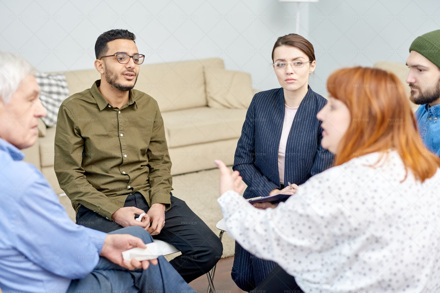 Group Therapy Session At Full Speed: Stock Photos