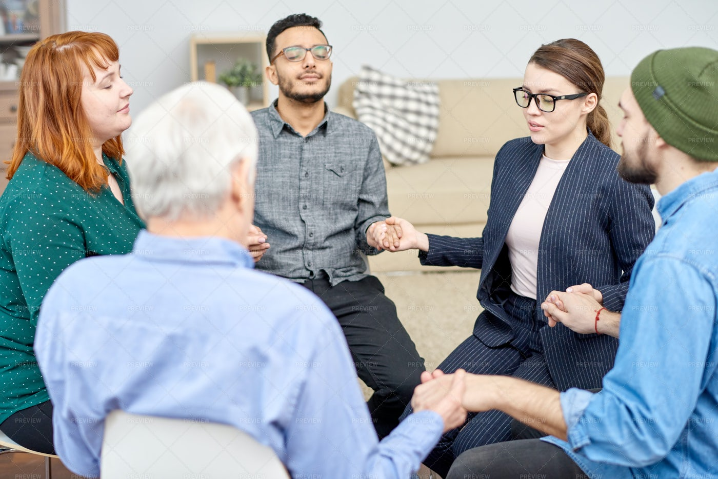 Encouraging Members Of Support...: Stock Photos