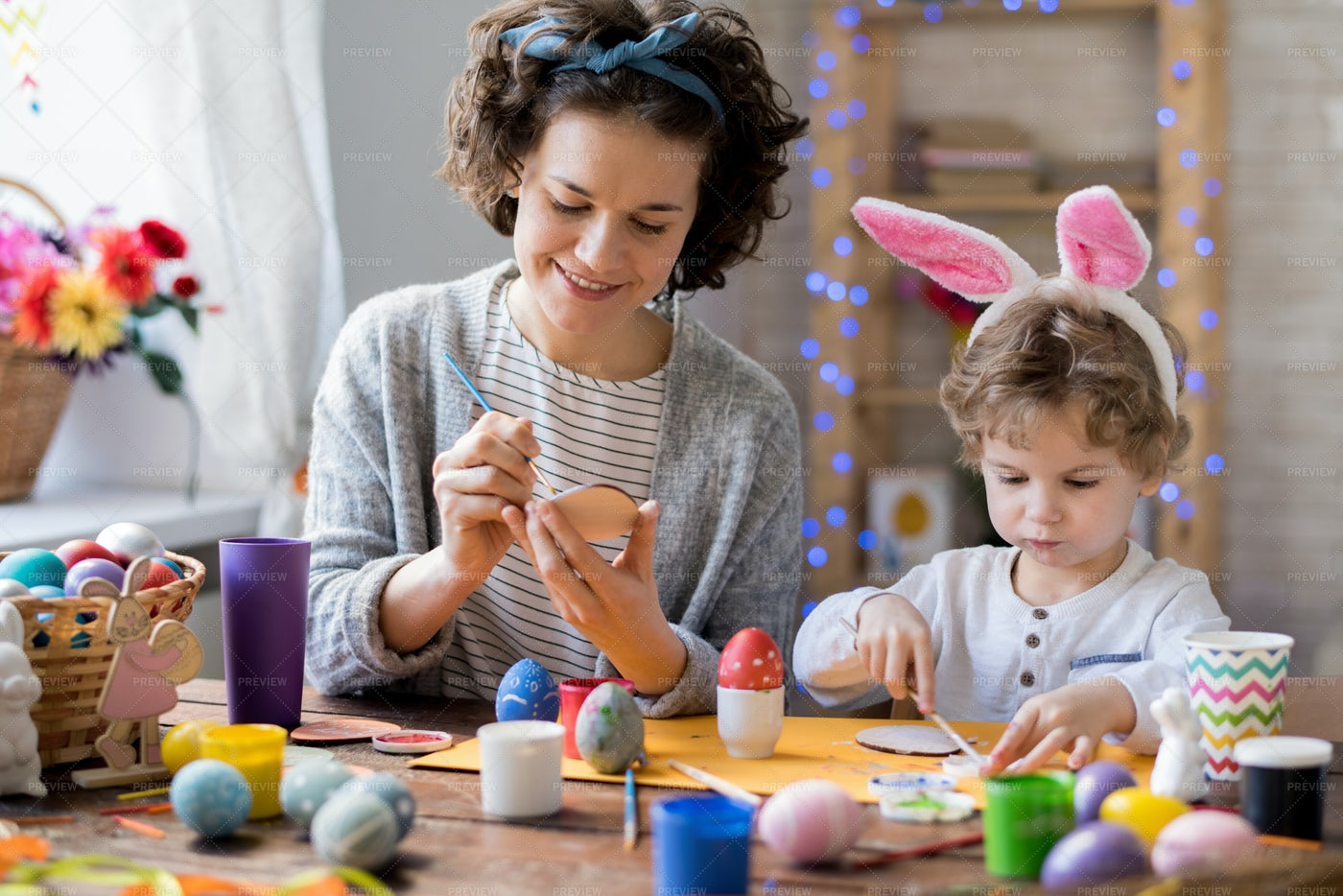 Family Repairing For Easter: Stock Photos