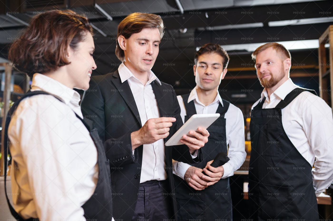 Briefing Of Waiters: Stock Photos