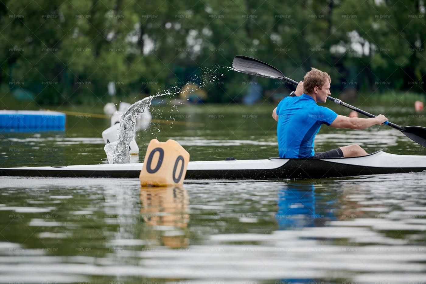 Man Rowing On The Lake: Stock Photos