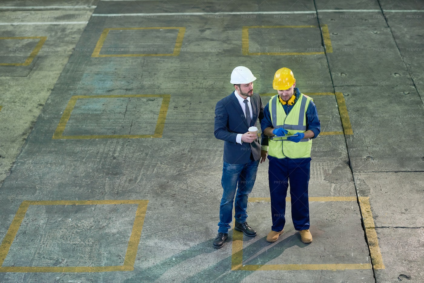 Engineers At Plant Wide Angle: Stock Photos