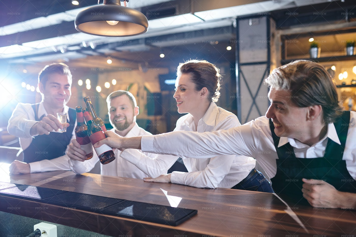 Excited Restaurant Colleagues...: Stock Photos
