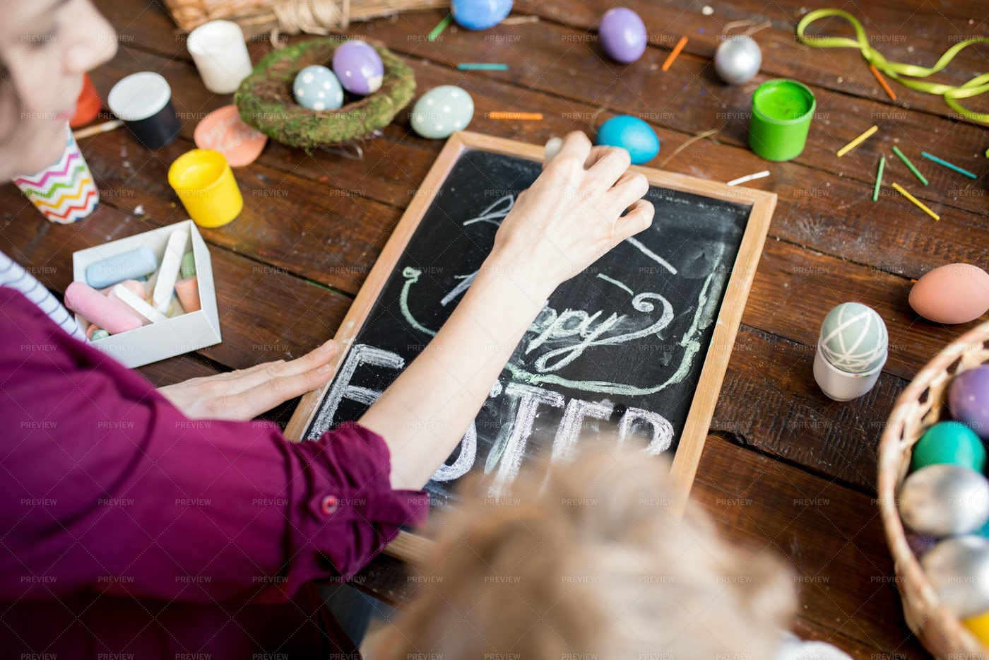 Woman Writing Happy Easter: Stock Photos