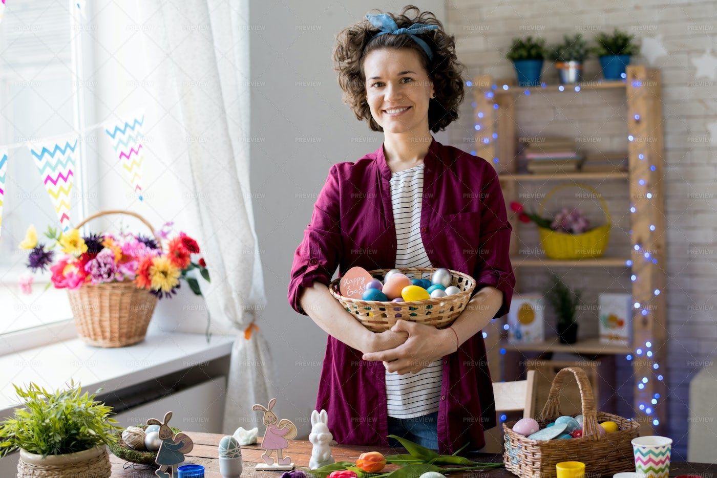 Young Woman Posing With Easter Eggs: Stock Photos