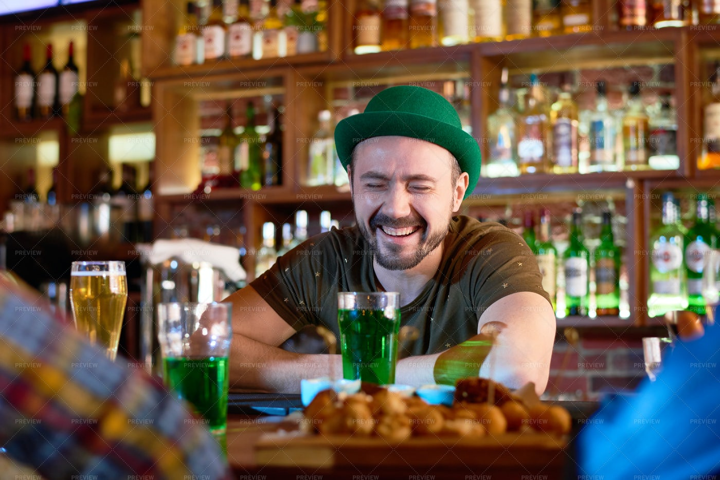 Bearded Barman With Toothy Smile: Stock Photos