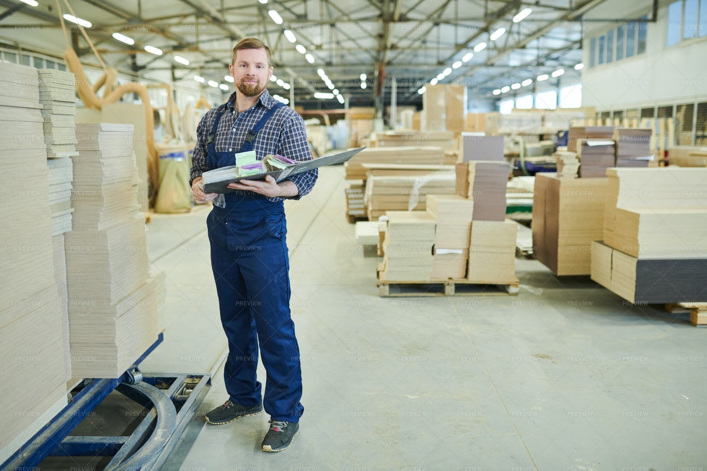 Confident Inventory Auditor Working...: Stock Photos