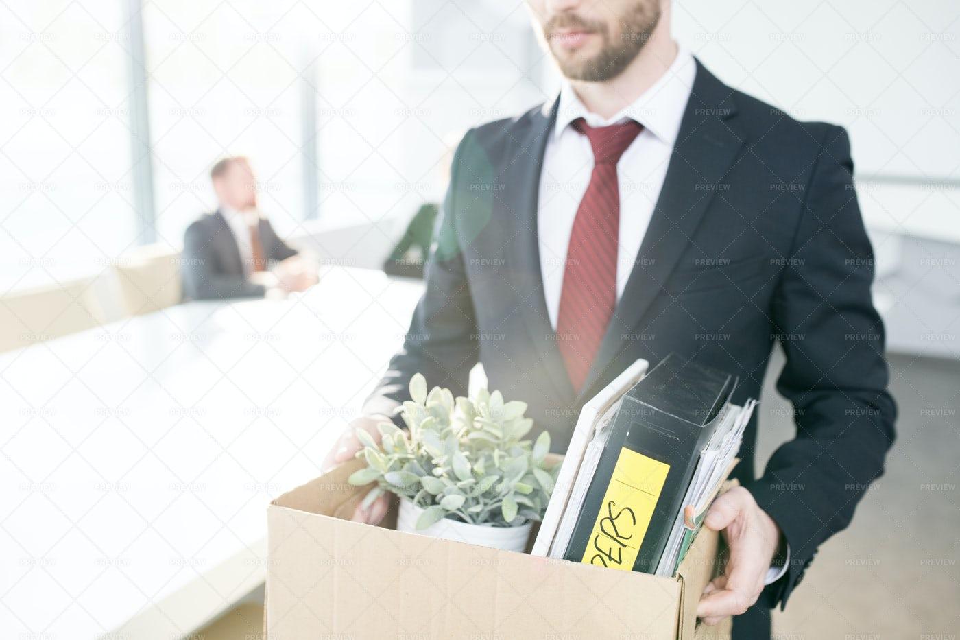 Unrecognizable Businessman Quitting...: Stock Photos