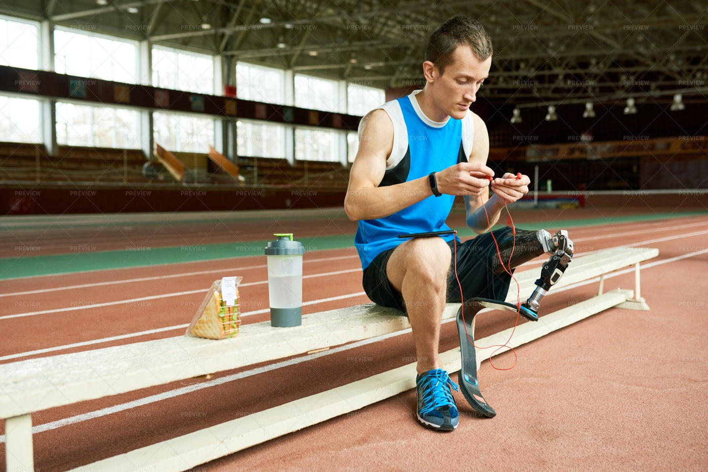 Disabled Athlete  Taking Break From...: Stock Photos