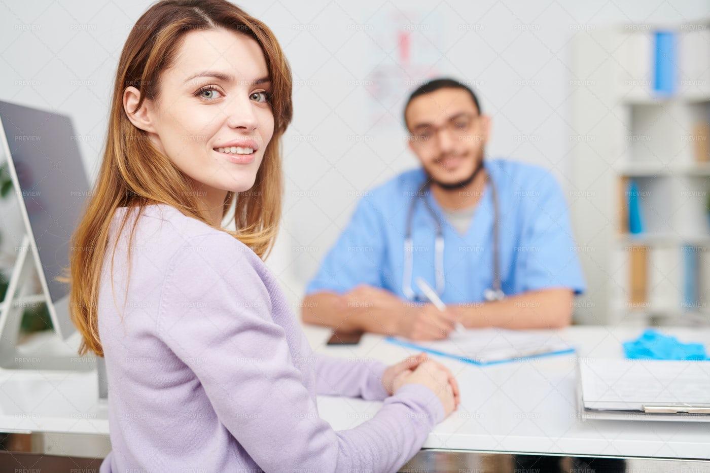 Beautiful Woman Posing In Doctors...: Stock Photos