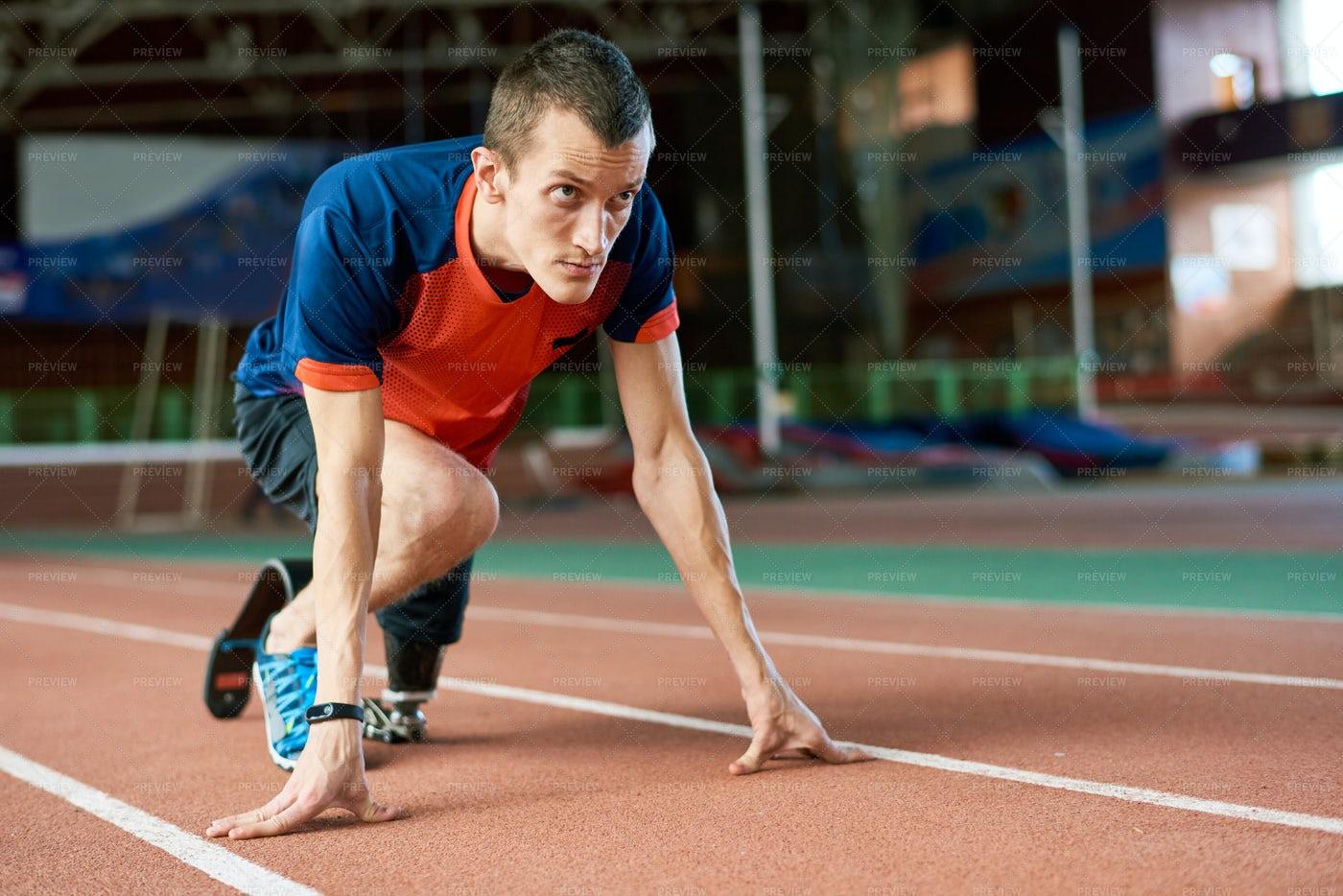 Handicapped Runner On Start: Stock Photos