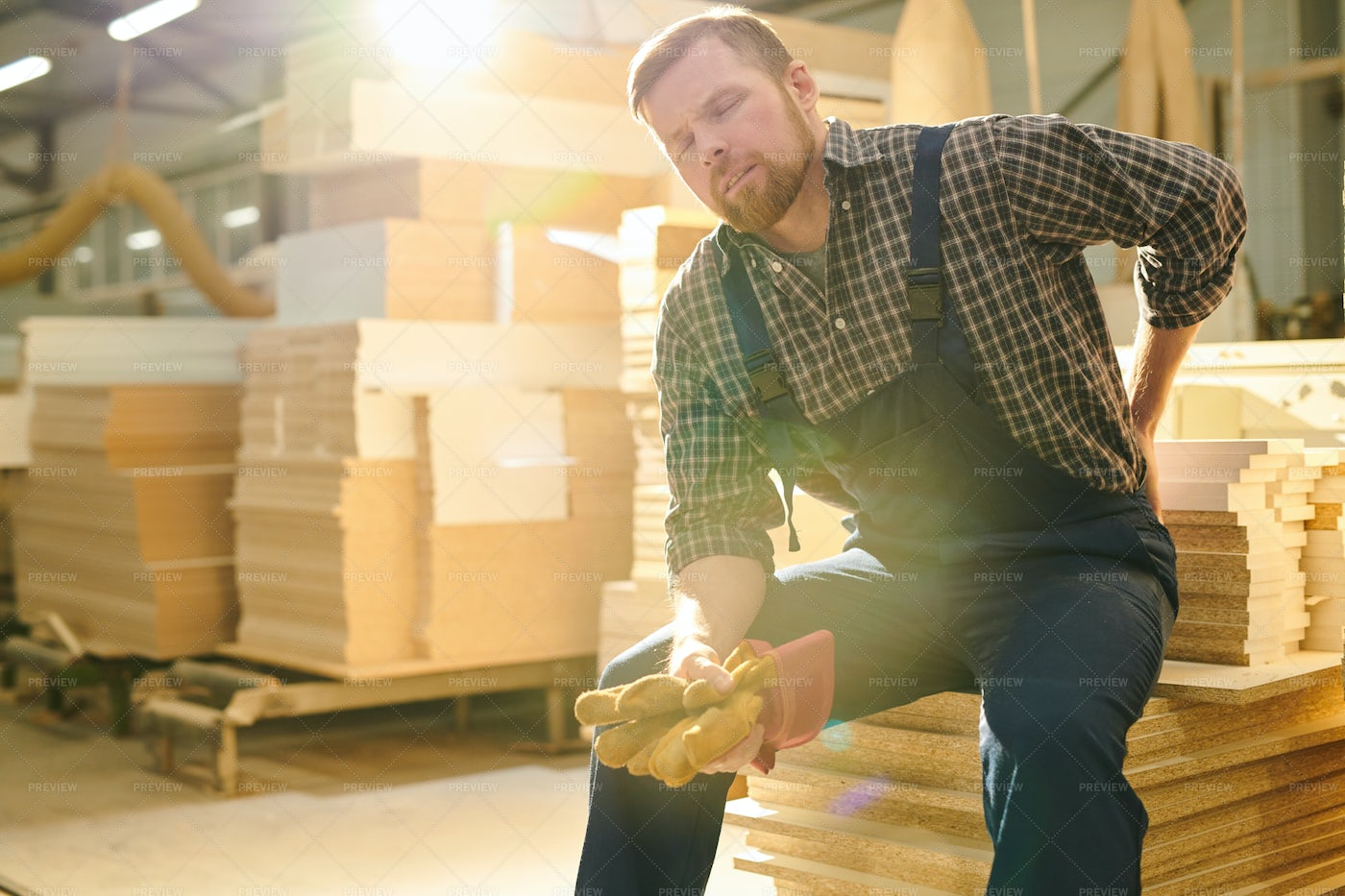 Manual Worker Having Pain In Back: Stock Photos