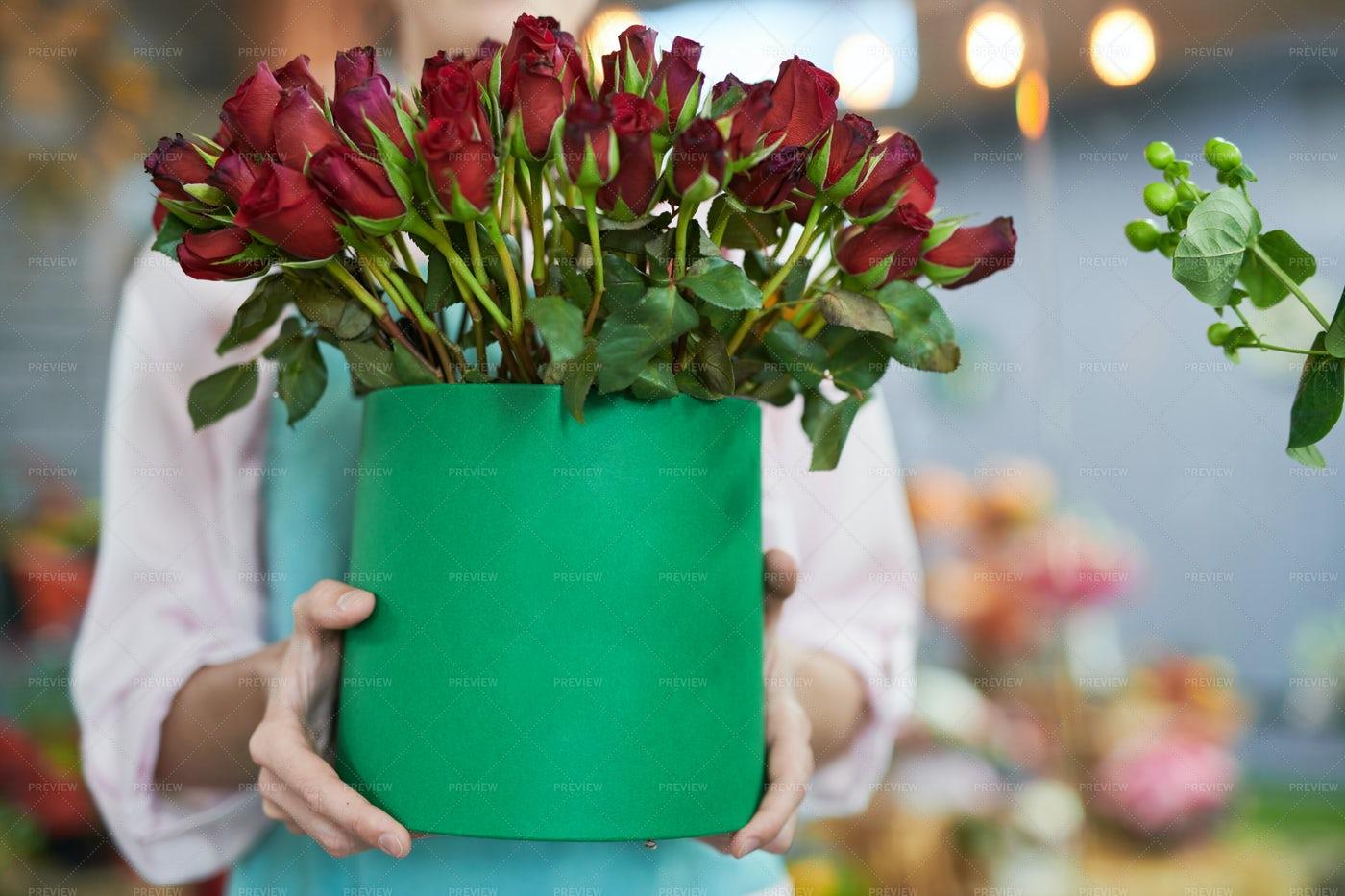 Florist Holding Roses: Stock Photos