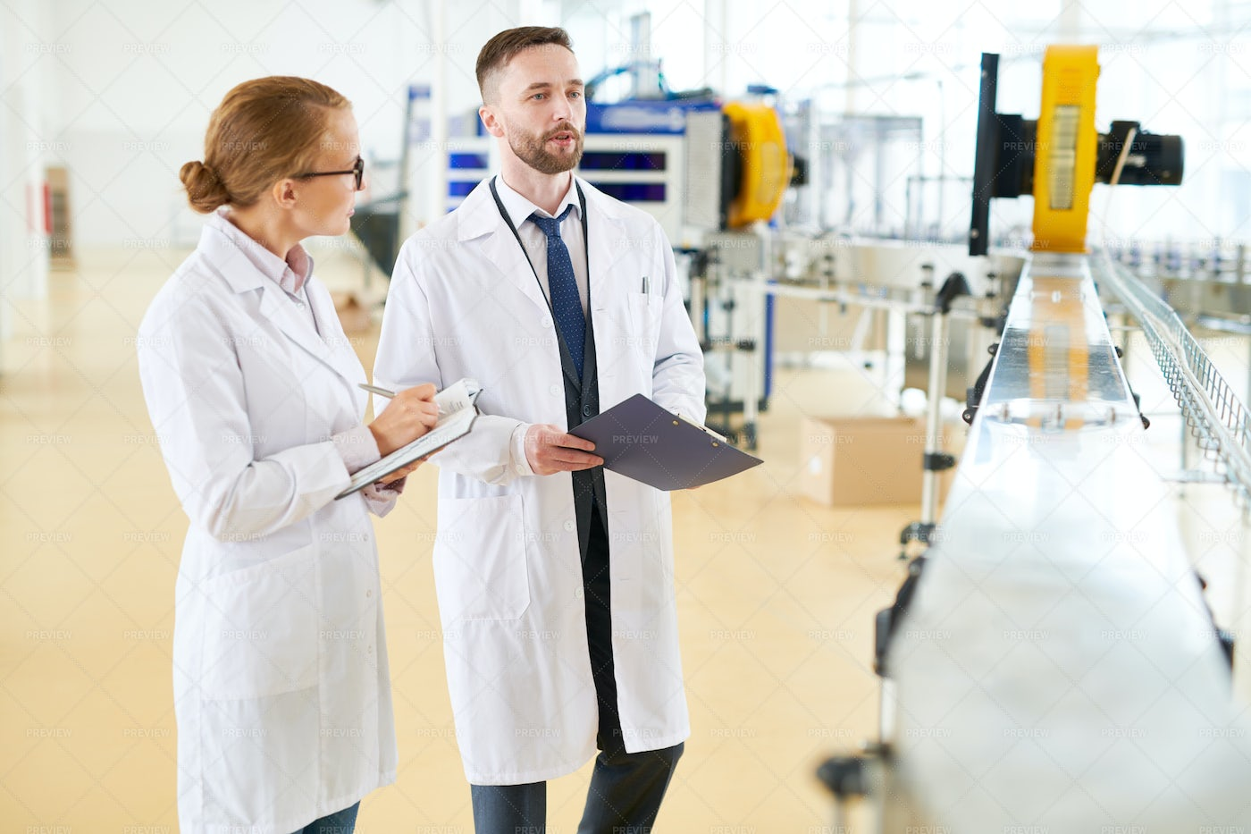 Quality Control At Dairy Plant: Stock Photos