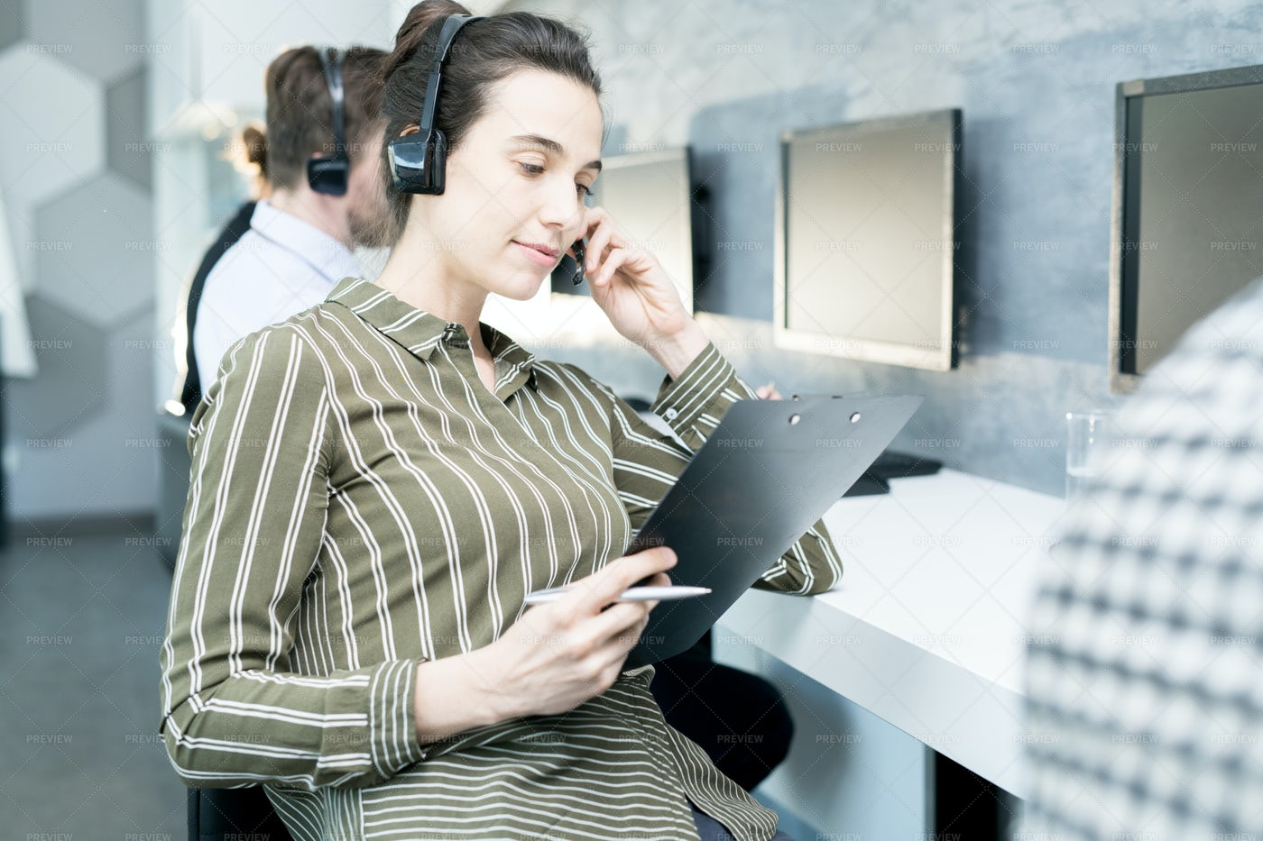 Young Woman In Help Desk: Stock Photos