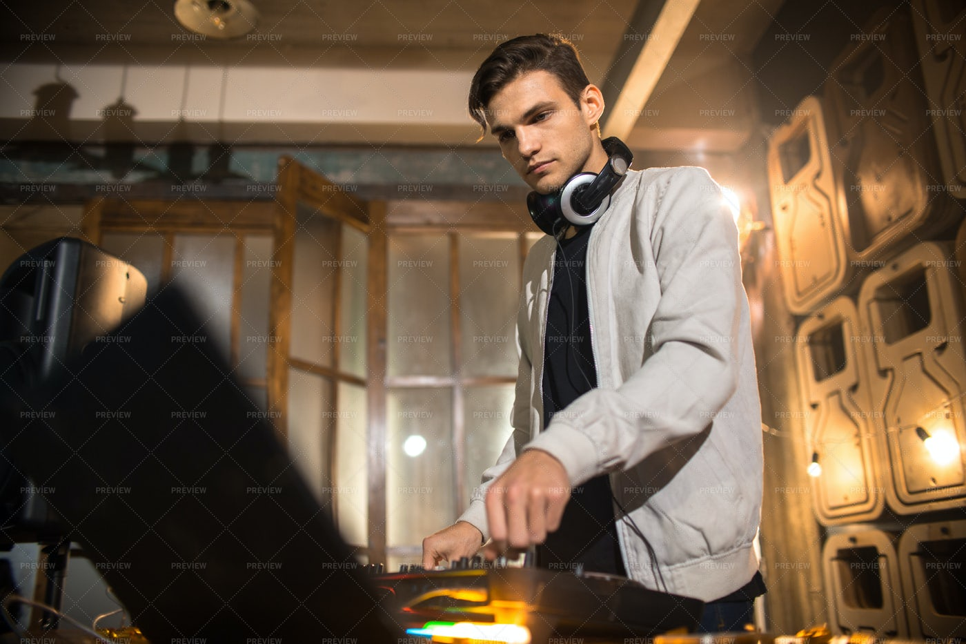 Young DJ Playing In Club: Stock Photos