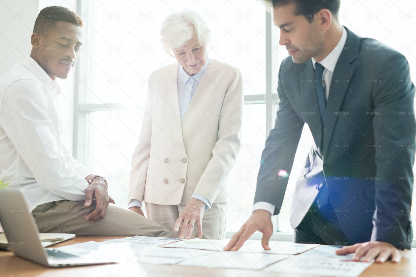 Content Business Colleagues...: Stock Photos