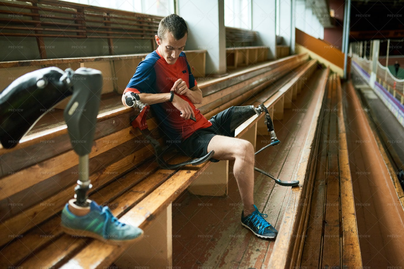 Disabled Sportsman Checking...: Stock Photos