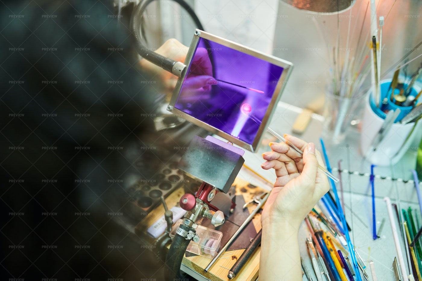 Glasswork In Studio: Stock Photos