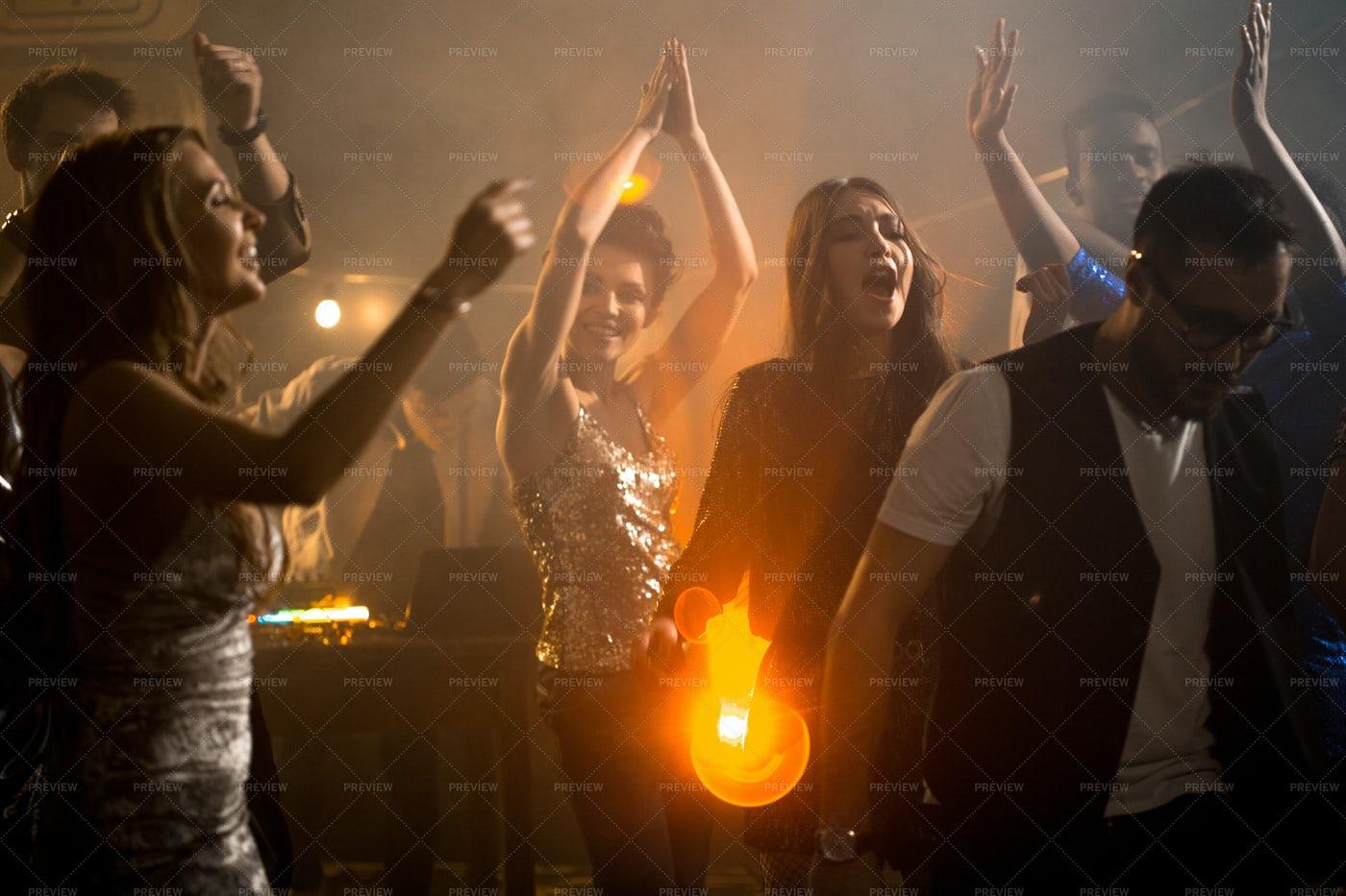 Beautiful Girls On Dance Floor: Stock Photos