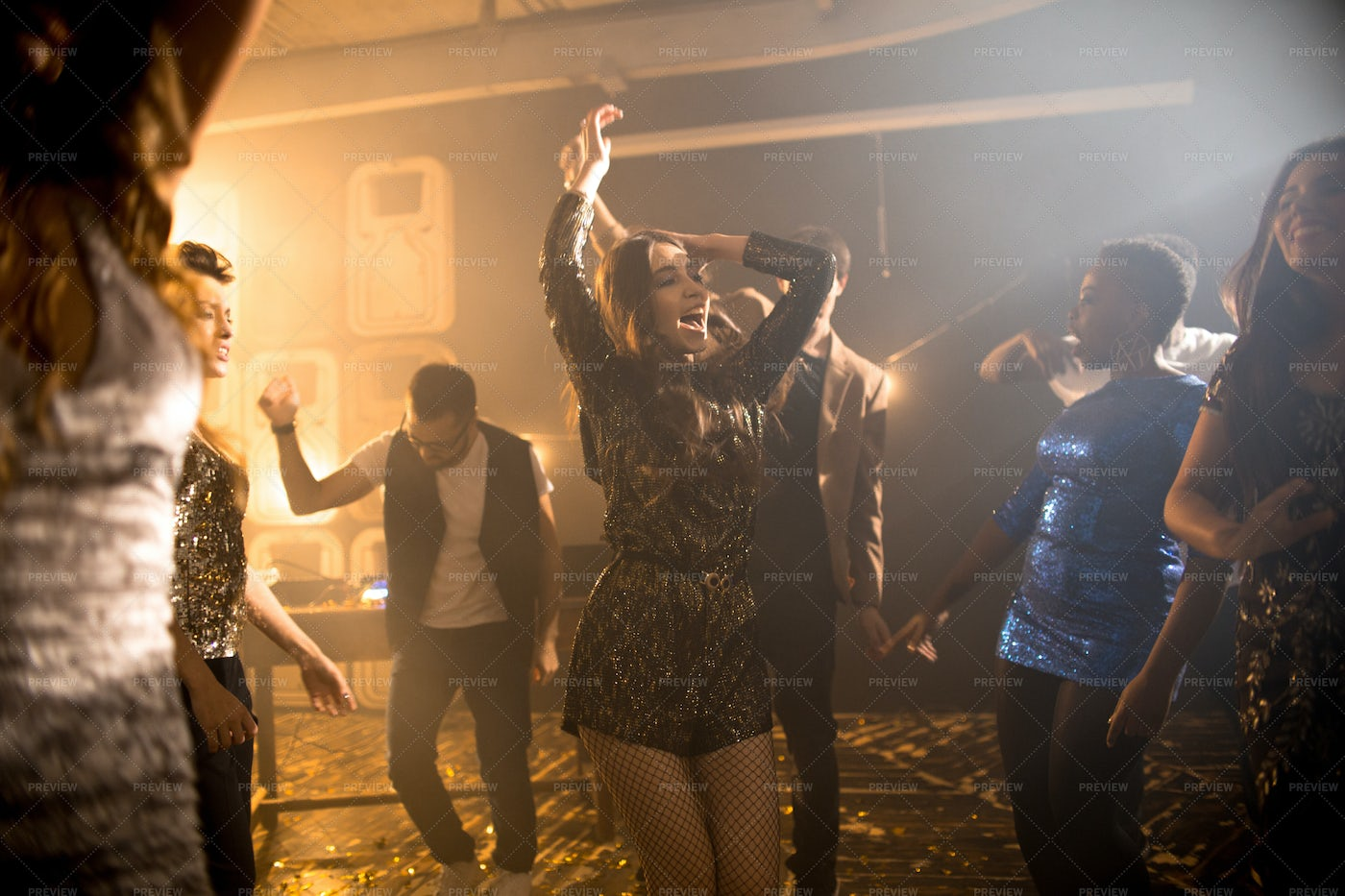 Young Woman Dancing In Club: Stock Photos