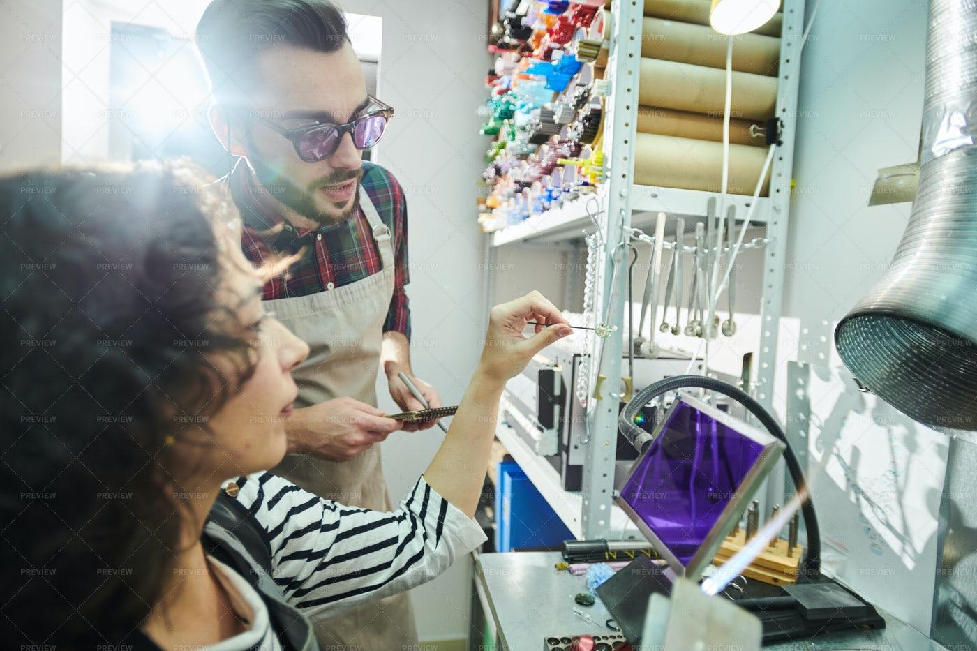 Crafters Glassworking In Studio: Stock Photos