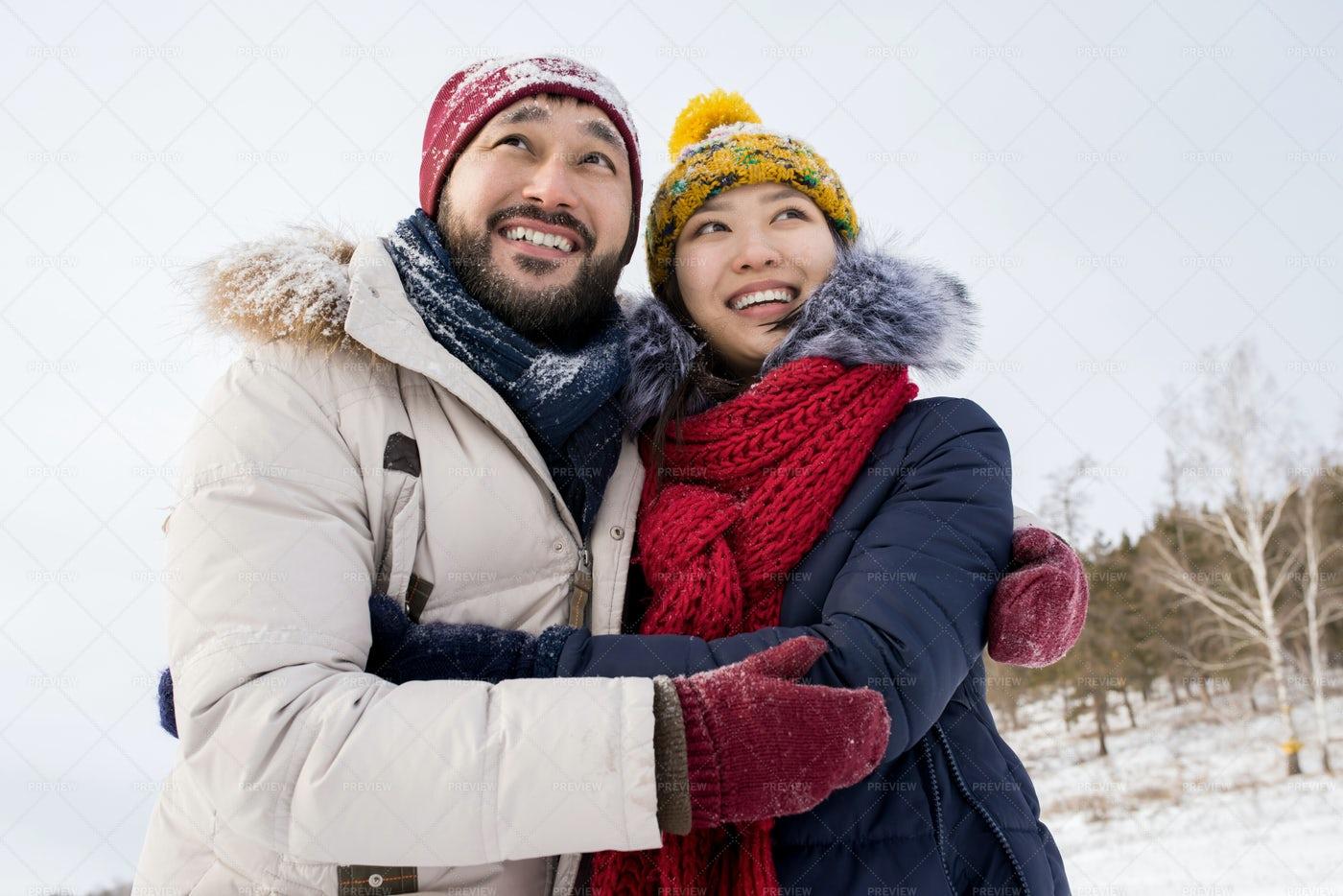 Asian Couple On Winter Vacation: Stock Photos