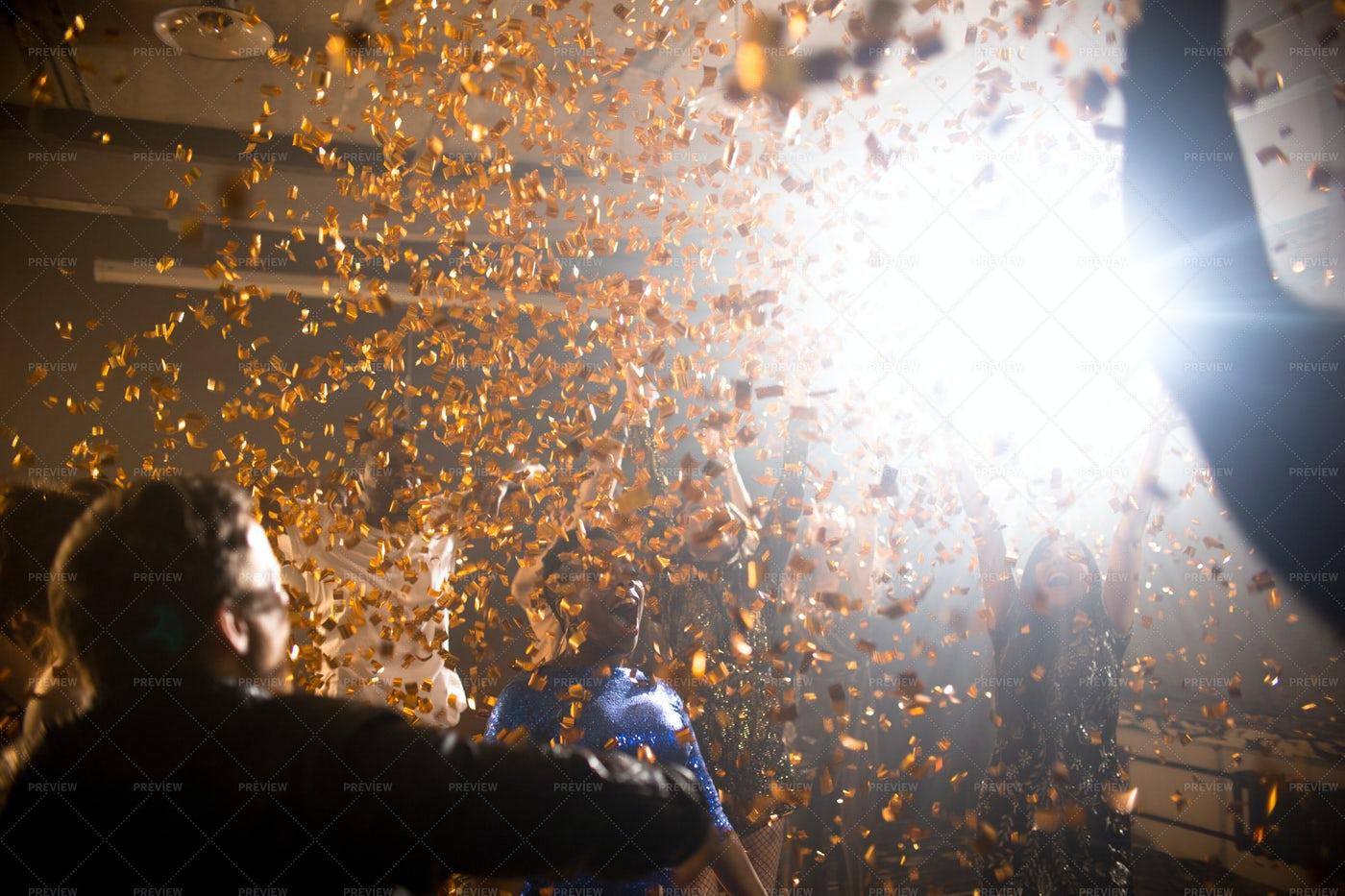 Confetti Burst At Nightclub Party: Stock Photos