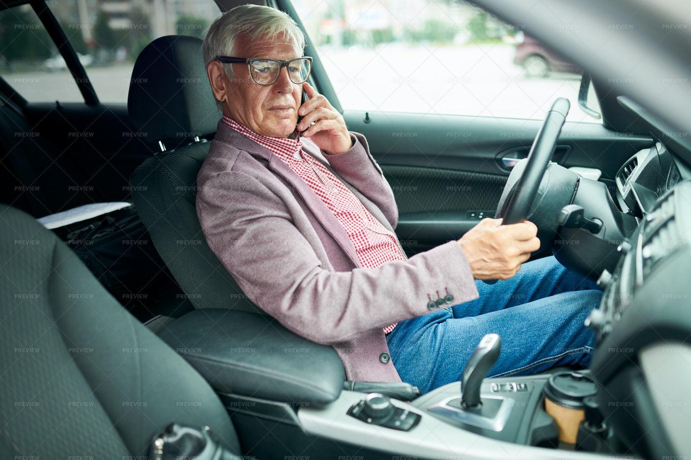 Senior Businessman In Car: Stock Photos