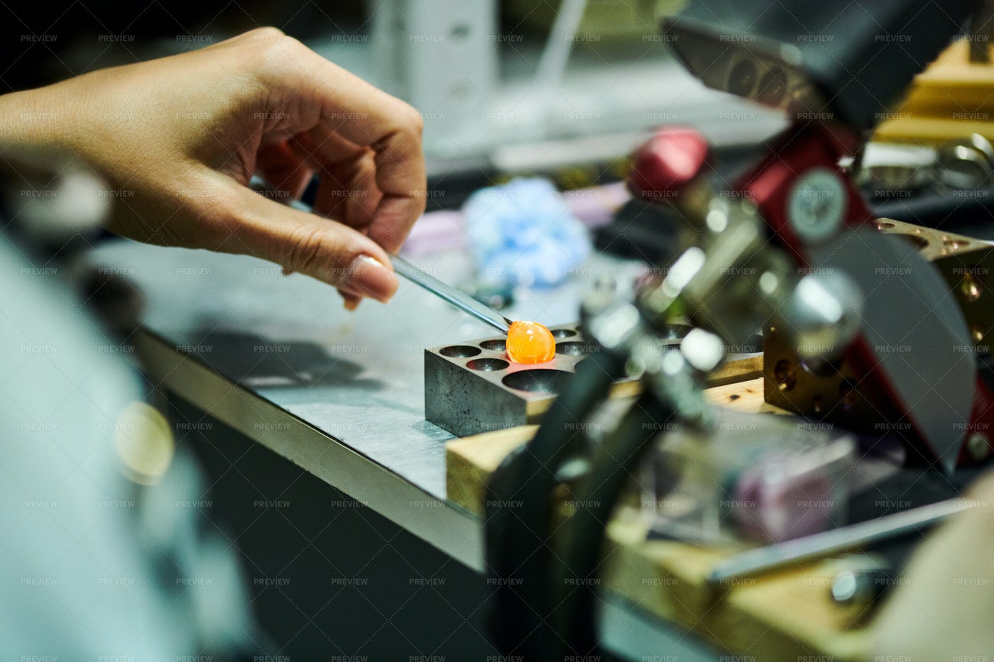Woman Shaping Glass: Stock Photos